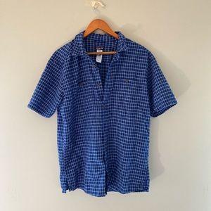 men Patagonia blue button up shirt